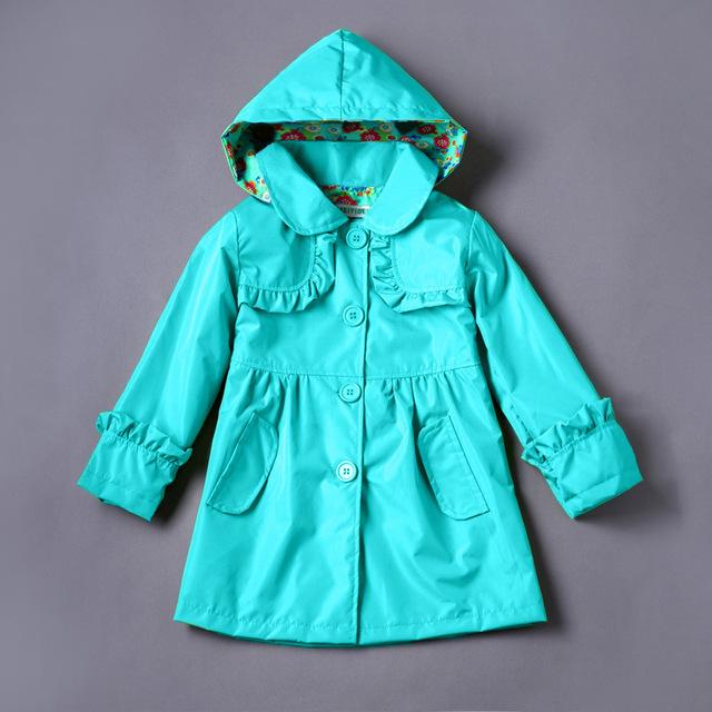 2017 new arrive Children wind rain coat girls lovely pure girls coat raincoat / coat charge hooded girls clothes girls trench