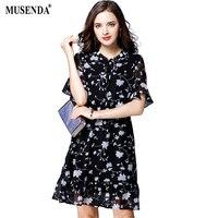 MUSENDA Plus Size Women Black Chiffon Print Tunic A Line Dress 2017 Summer Sundress Lady Casual