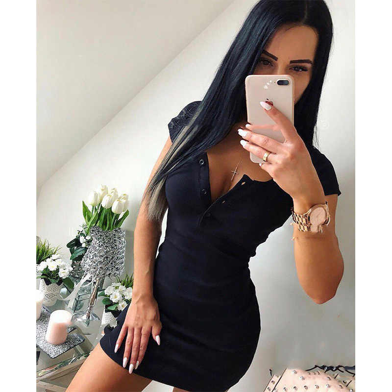 夏のドレス 2019 秋の女性のセクシーなカジュアルニットシースミニドレス女性ソリッド V ネック胸ボタン半袖ボディコンドレス