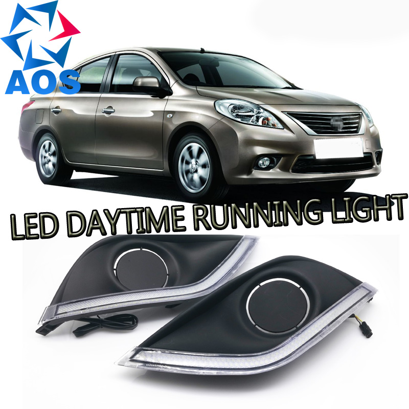 2PCs/set Car styling LED DRL daytime car Daytime running light  for Nissan sunny versa 2014 2015 2016 with yellow turn signal new 2 pcs car led daytime running light turn signal light flowing yellow steady auto flexible styling strip crystal led bar drl
