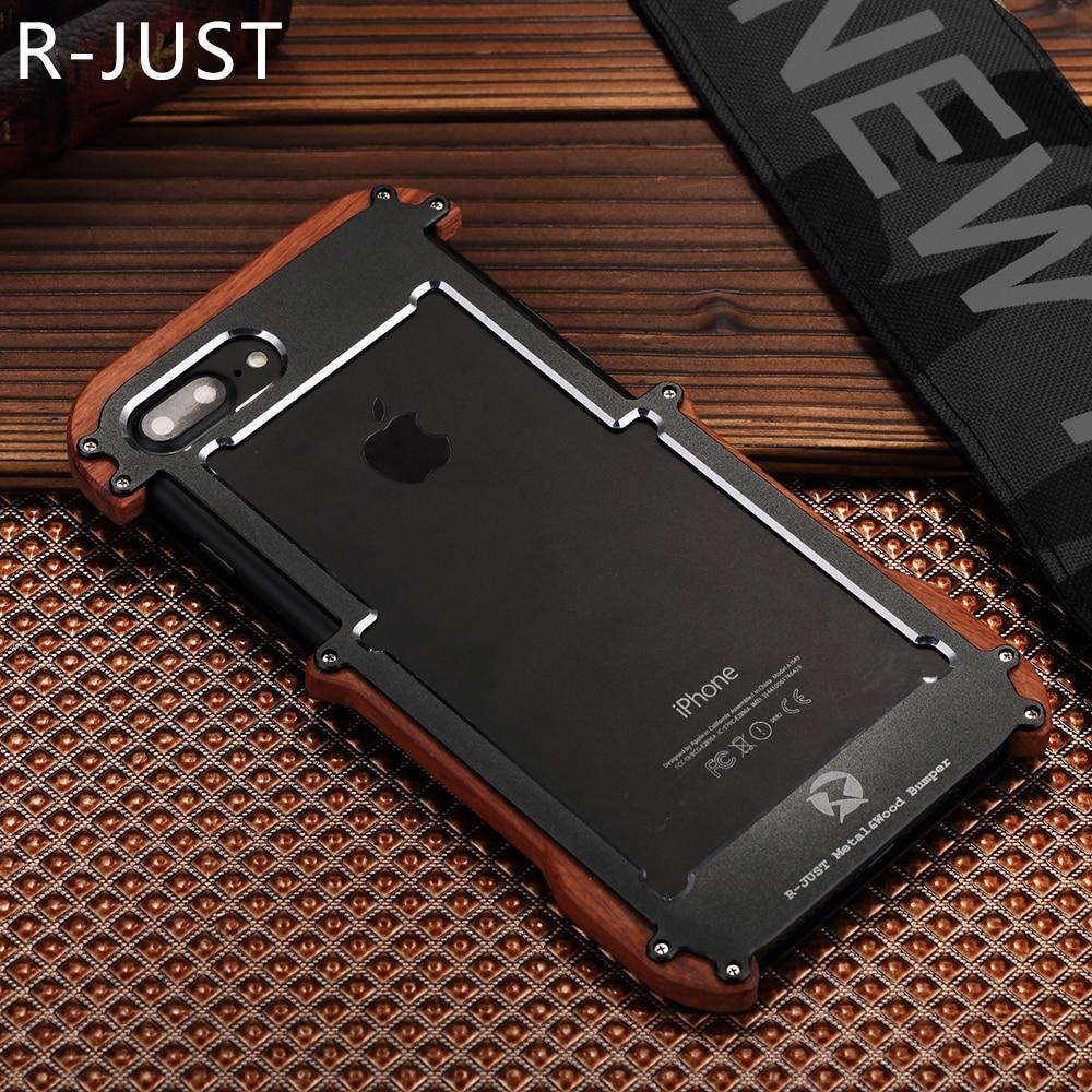 bilder für R-Nur Für Apple iPhone 7 Fall Luxury Brand Harte Metall Aluminium Holz schutzhülle Telefon Fall für iPhone 5 S 6 6 S 7 Plus Fall abdeckung