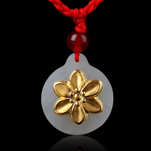 цена на Fashion Pendants Jade Jewelry Elegant Flower Stylish Jade Pendant For Women Unisex Necklace Jewelry
