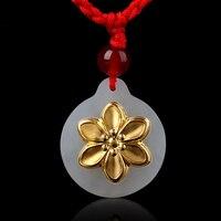 Fashion Pendants Jade Jewelry Elegant Flower Stylish Jade Pendant For Women Unisex Necklace Jewelry