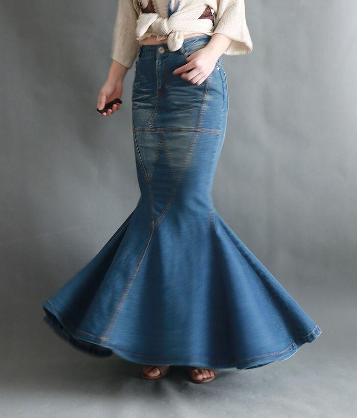 Cadera Slim Retro Faldas Moda Curva Azul Más Paquete Tamaño Costura Mujer De Falda Vaquero Europa Cola Larga Pez Jeans 17vqvw4