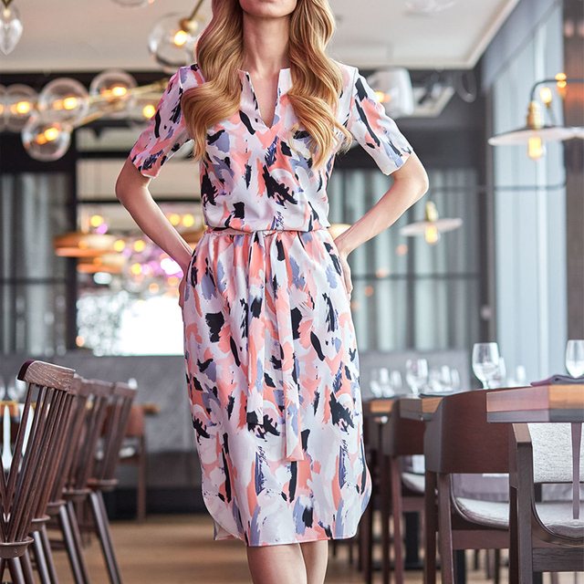 Casual Loose Dresses Vestidos 2019 Summer Women Short Sleeve Print Sashes Dress Fashion V Neck Ladies Party Dress Plus Size