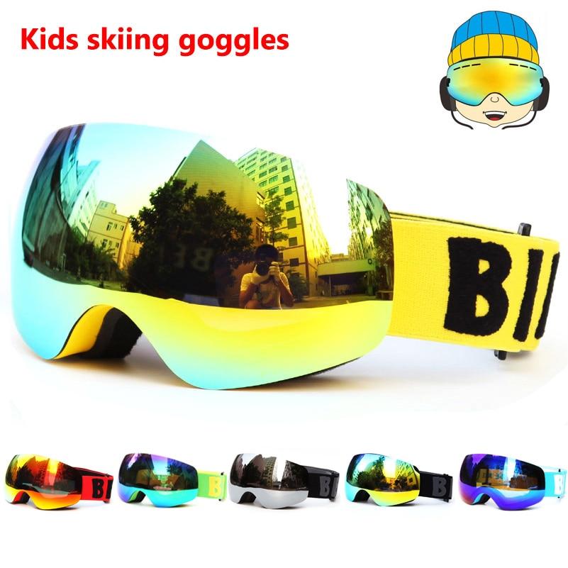 2a14f9865 Ski Goggles Eyewear Double lens Kids mirror UV400 anti-fog Children skiing  masks