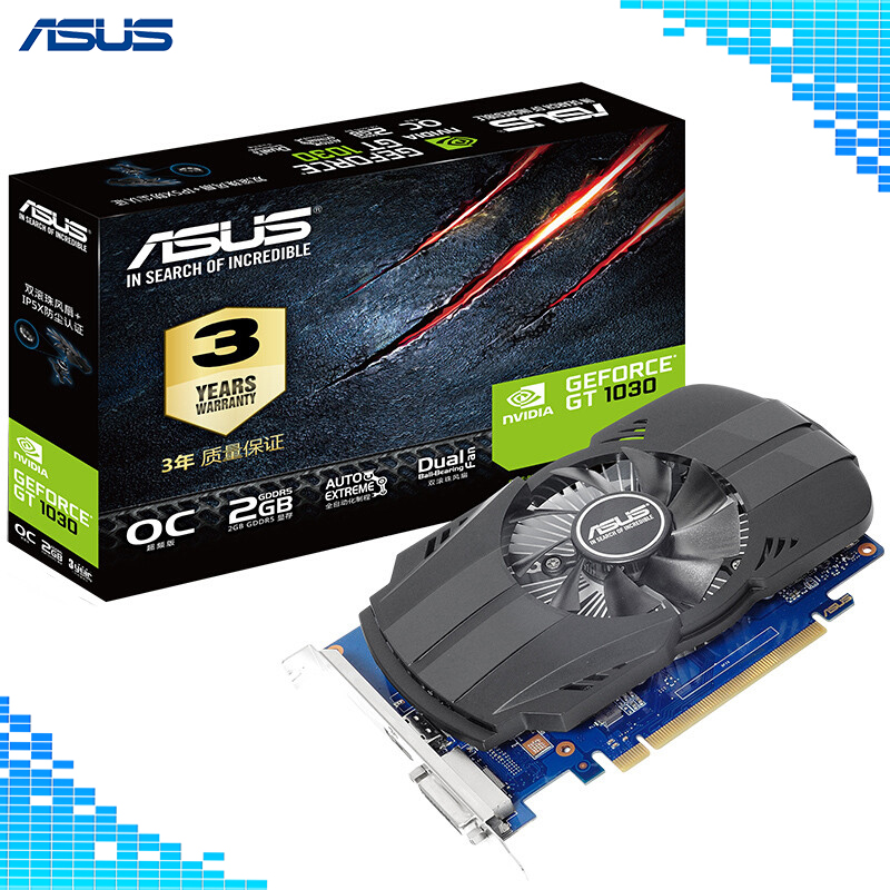 Asus PH-GT 1030-O2G Graphics Cards 64Bit GDDR5 PCI Express 3.0 4X NVIDIA GeForce GT 1030 2G Graphics asustek asus ph gt1030 o2g 1252 1531mhz 2g рабочего памяти начального уровня графической карты пк