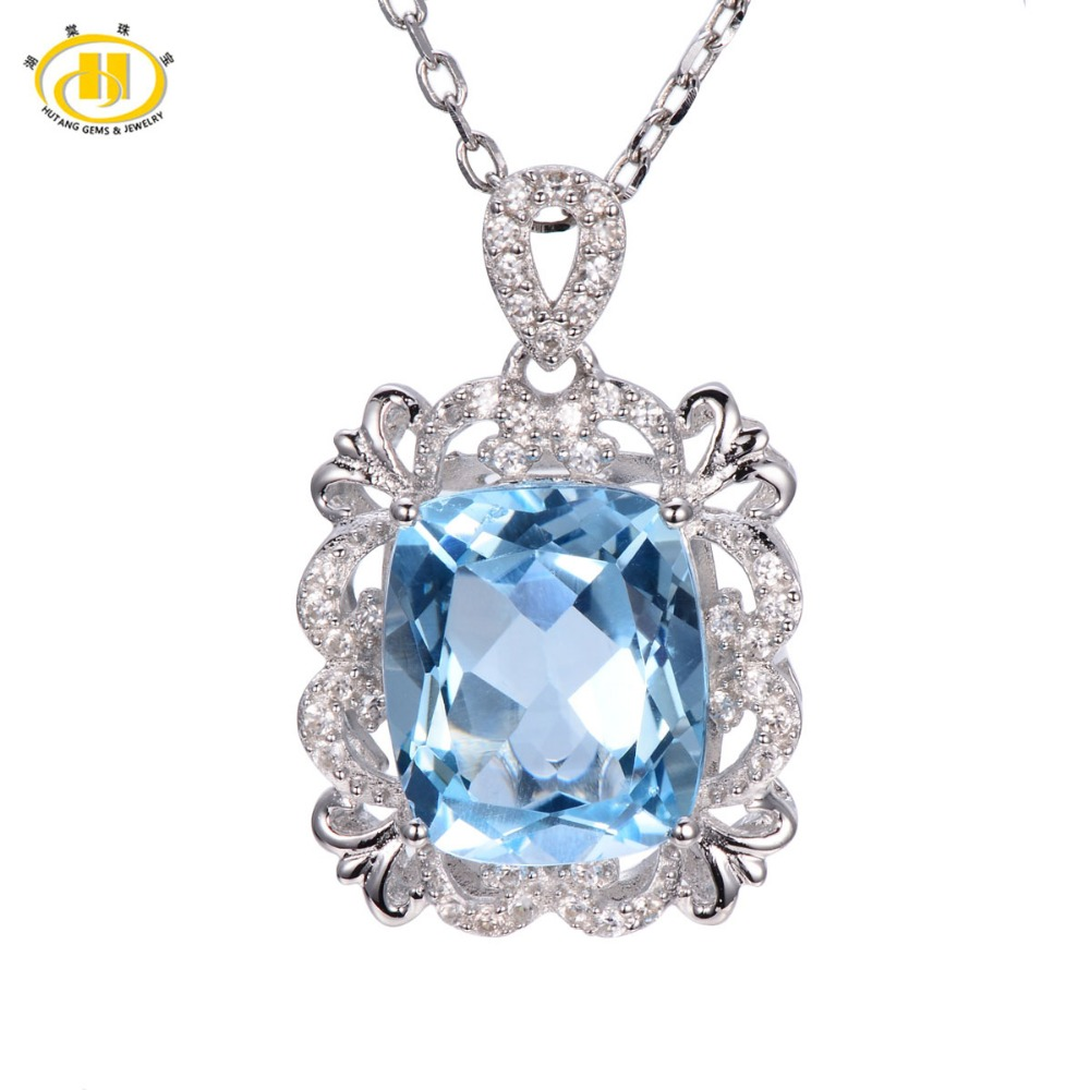 Hutang 6.26ct Natural Blue Topaz Solid 925 Sterling Silver Vintange Pendant Necklace Gemstone Fine Jewelry Women's
