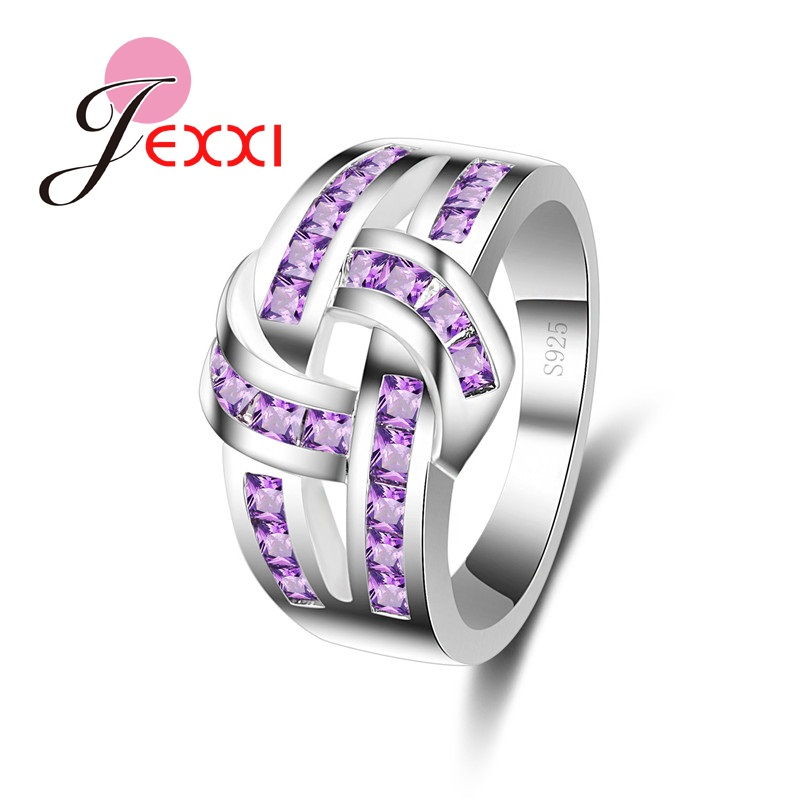 JEXXI Hollow Knot Design Wedding Engagement Ring Full Purple Cubic Zirconia Wholesale 925 Sterling Silver Jewelry