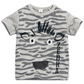 Little Maven New Boys  Summer Cool Fashion Grey  Zebra Short O-neck Brand Cotton Quality Knitted Children Tshirt