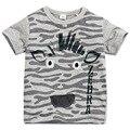 Little maven nova meninos verão fresco moda zebra cinza curto o pescoço marca de qualidade de malha de algodão crianças tshirt