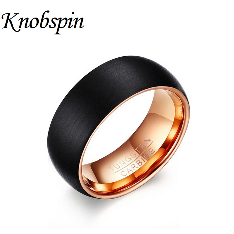 Fashion Tungsten Rings Men Black Rose gold color Jewelry Classical Engagement Wedding band 8MM wide High quality Ring for men