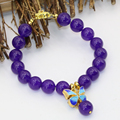 Free shipping 10mm fashion purple jade stone jasper round beads bracelet gold plated cloisonne spacer diy jewelry 7.5inch B2722
