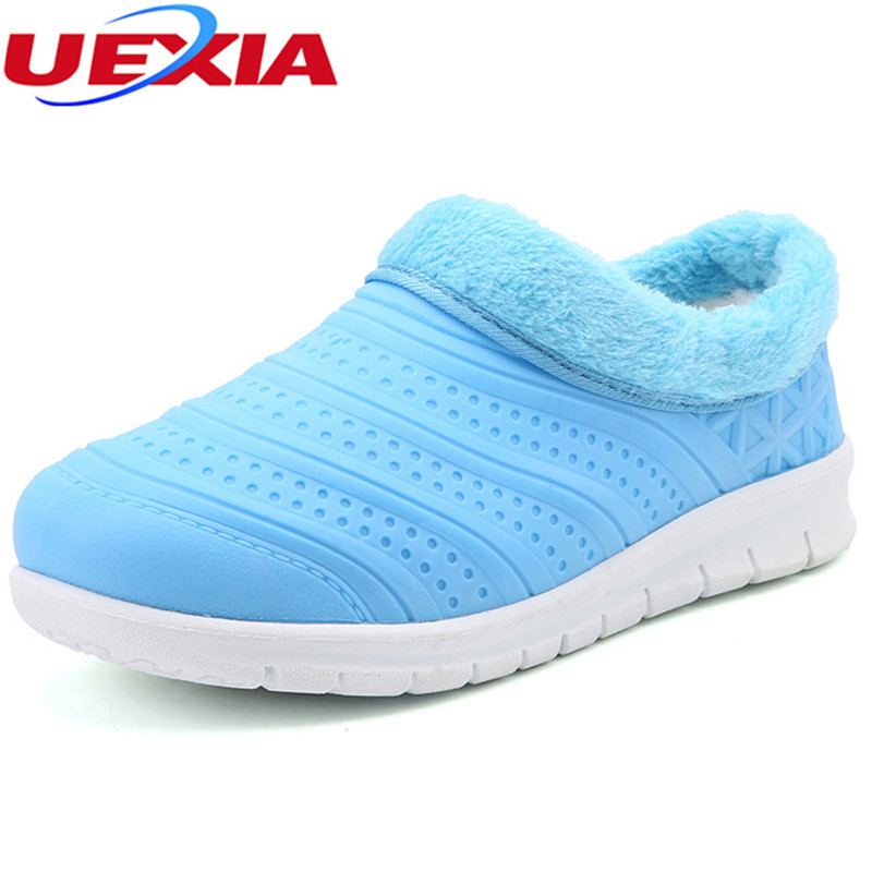 UEXIA New Winter Short Snow Shoes Women Waterproof Slip-On Hard-Wearing Soles Vamp Soft Anti-Odor Casual Flats Warm Fur Loafers uexia winter women flats warm fur plush comfort cotton shoes woman loafers slip on cute indoor warm furry comfortable moccasins