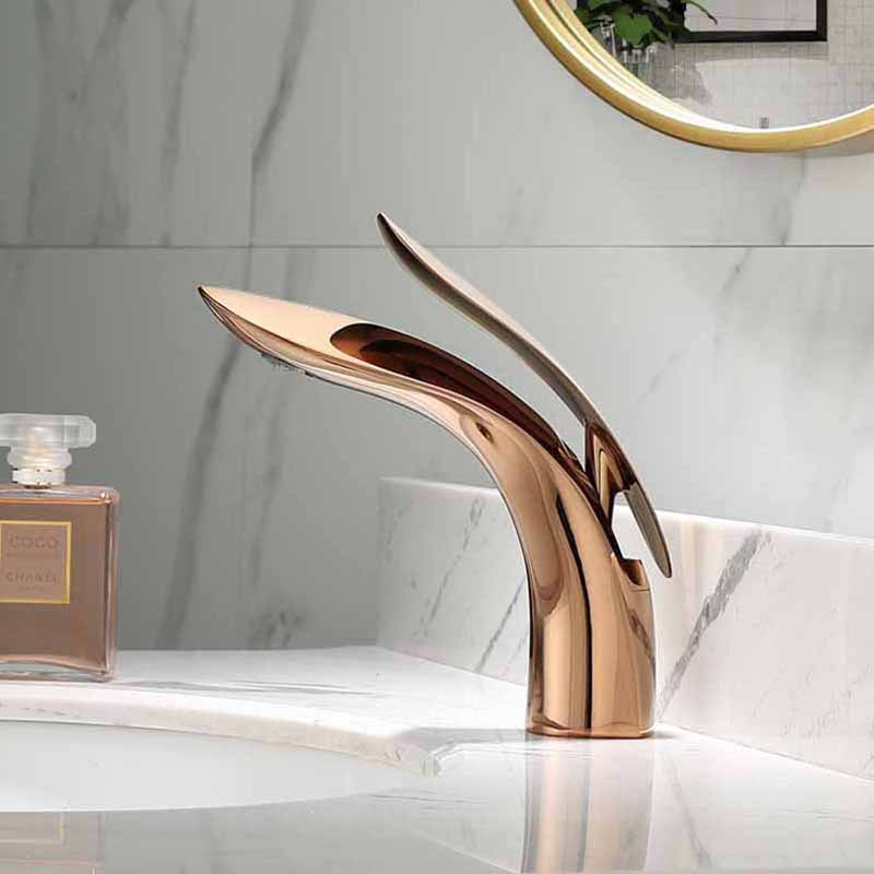 Basin Faucet Rose Gold/Black Brass Mixer solid copper Construction Simple North Europe style Tap Sink Taps Bathroom Basin FaucetBasin Faucet Rose Gold/Black Brass Mixer solid copper Construction Simple North Europe style Tap Sink Taps Bathroom Basin Faucet