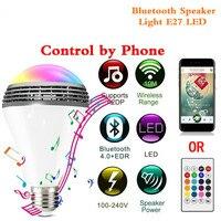 Głośnik Bluetooth Inteligentne Światła E27 Żarówka LED Biały + RGB kolorowe Lampy Muzyka Audio APP Remote Control lub Zdalnego Sterowania głośnik