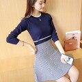 50 mujeres Coreanas otoño moda delgado de algodón de color suéter de Cuello Redondo vestido de pata de Gallo F1391 engrosamiento