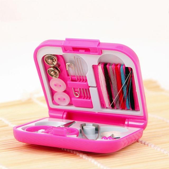 Portable Travel Sewing Kits Box Needle Threads Scissor Thimble Home Tools