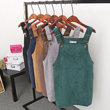 Summer Women Corduroy Suspender Skirts New Lady Pure Color Overall Vest Jumpsuit Braces Skirt Suspender Skirts Preppy Style sweet style solid color button embellished women s suspender skirt