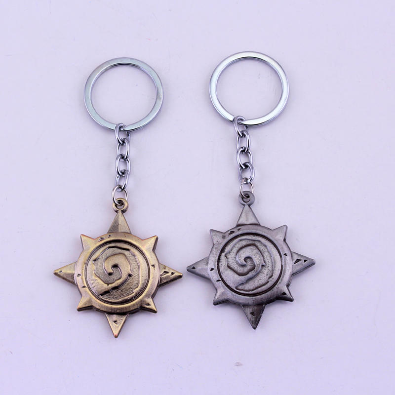 MQCHUN Game Series Accessories Hearthstone Heroes of War craft Heroes Metal Keychain For Fans Keyring Men Jewelry Boyfriend Gift