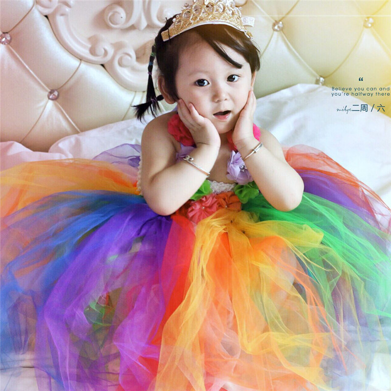 Girls Lovely Rainbow Princess Tutu Dress Child Fantasias Summer Birthday Party Dresses Baby Frocks Fancy Up 2