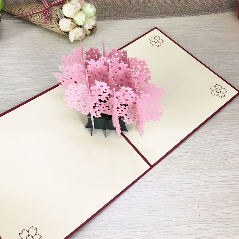 1pcs Laser Cut Kirigami 3D Pop UP Greeting & Gift Cards Gorgeous Cherry Blossoms Handmade Creative Thank You Cards Teachers' Day (6)