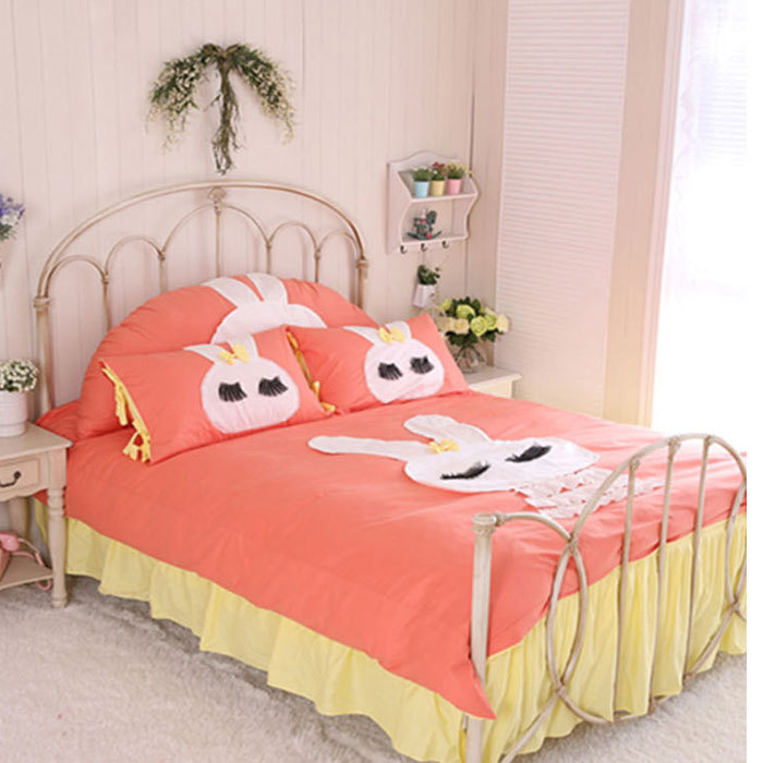 Korean style bed skirt and duvet cover cute rabbit for New style bed