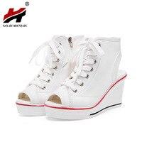 New Summer Wedges Canvas Shoes Woman Platform Sandals Ladies Open Toe Breathable Shoe Women Casual Shoes