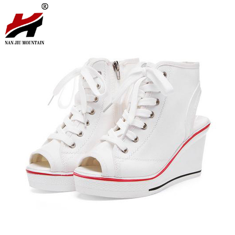New Summer Wedges Canvas Shoes Woman Platform Sandals Ladies Open Toe Breathable Shoe Women Casual Shoes Platform Wedge Sandals new 2018 summer women sandals platform heel leather comfortable wedge shoes ladies casual sandals