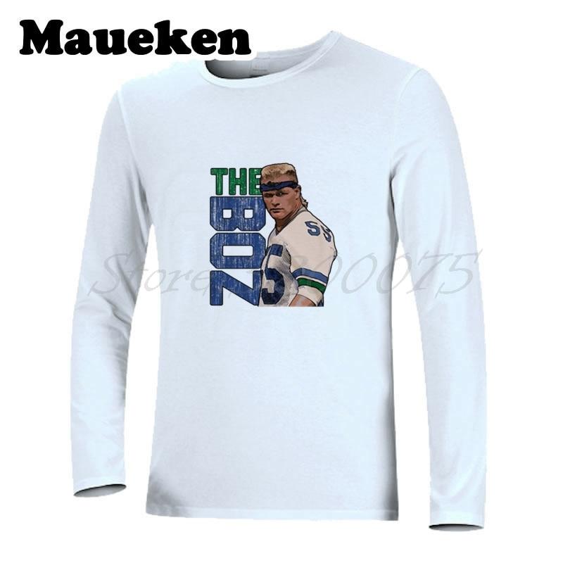 Men Autumn Winter Legend Seattle #55 Brian Bosworth T-Shirt Long Sleeve Tees T SHIRT Men's mark Fashion W1213006