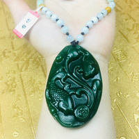 Send A level national certificate Natural Hetian Biyu carved green good luck fish pendant Three color jade bead necklace