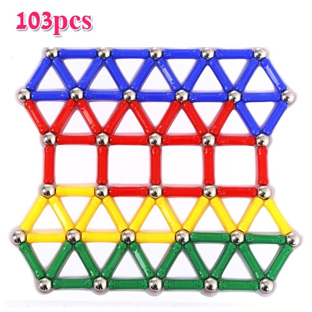 103pcs/set Magnet Balls Sticks Metal Design Blocks Mini Bead Geometric Figure Construction DIY Toys For Kid Intelligence Gift