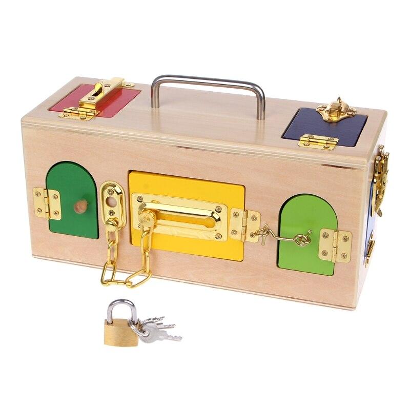 Les enfants aiment intéressant Montessori coloré serrure boîte enfants enfants éducatifs préscolaire formation jouets - 2