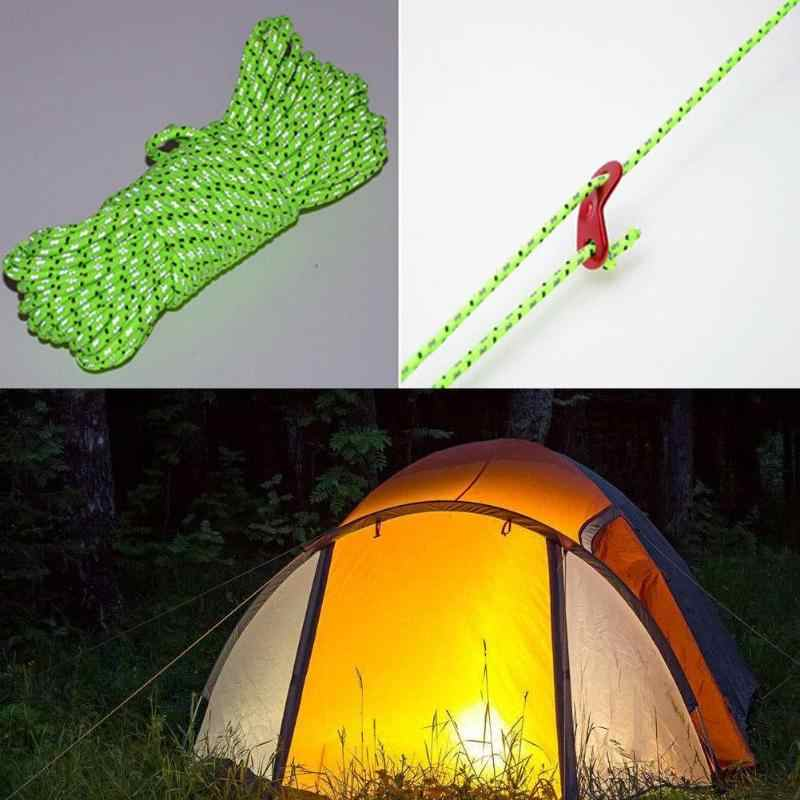 20M Flourescent Rope Guyline Cord String Camping Tent Awning Accessorie