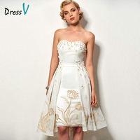 Dressv Ivory Flowers Lace Cocktail Dress Strapless Knee Length A Line Sleeveless Short Homecoming Dress Cocktail