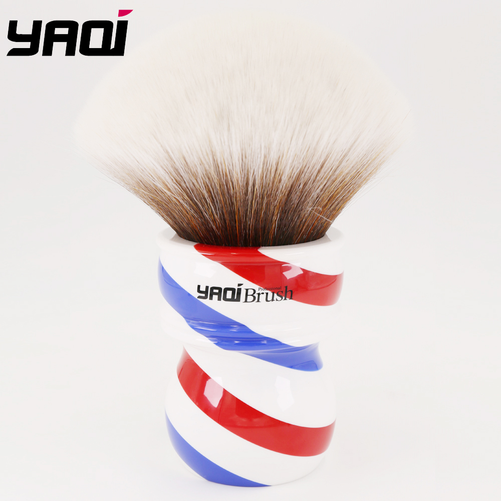 Yaqi 75mm Monster Synthetic Hair Shaving Brush With Barberpole Handle