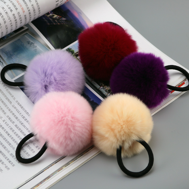 Baby Kids Cute Hair Accessories   Headwear   Rex Rabbit Fur Ball Rubber Headbands Girls Children Solid Color Pompon Gum Elastic Hair