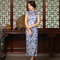 White Blue Chinese Traditional Women's 100% Silk Handmade Long Cheong-sam Dress S M L XL XXL