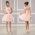 Vestido Cocktail 2016 Cocktail Dress Scoop Appliques Aline See Through Light Pink Short Party Dress vestido de festa curto