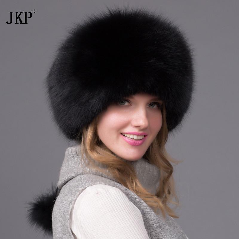 Genuine natural Fox Fur Hat Women Cap Thick Fur Cap Winter Warm Hat Female Fashion For