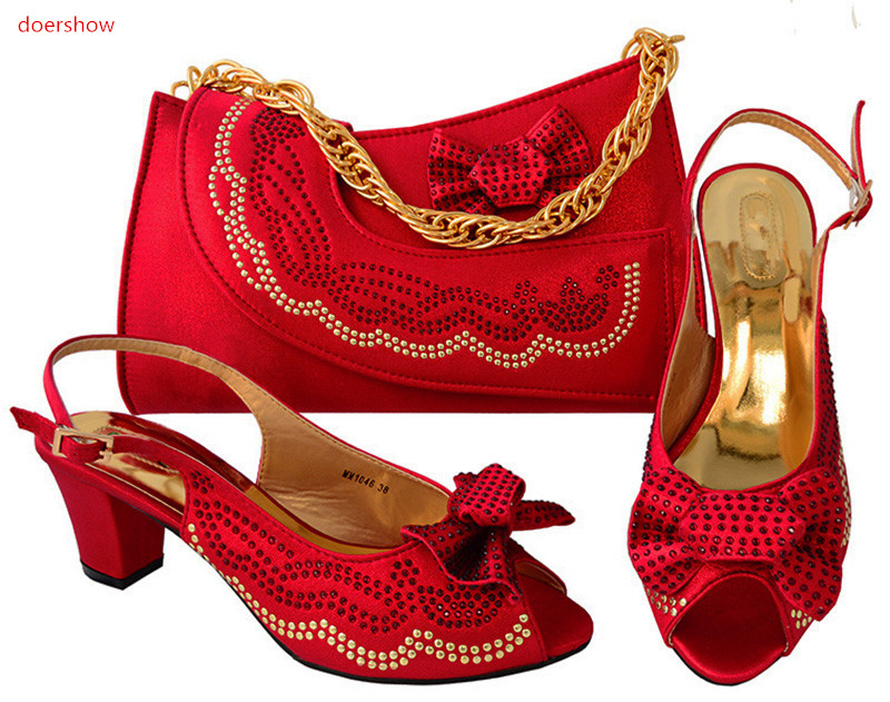 doershow Italian Matching Shoes and Bag Set African Wedding Shoe and Bag Set Italy Shoe and Bag Set Women low Heels shoe!HSK1-4 red african wedding shoe and bag sets women shoe and bag to match for parties elegant italian women shoe and bag set