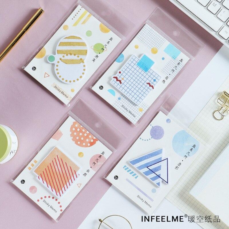 1 Satz Memo Pads Sticky Notes Kawaii Geometrische Reise Papier Notizblock Tagebuch Scrapbooking Aufkleber Büro Schule Schreibwaren Notizblöcke Elegant Im Stil