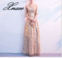 Elegant A-Line Gold Sequin Party Dresses Half Sleeves Ankled-Length Women Formal Dress