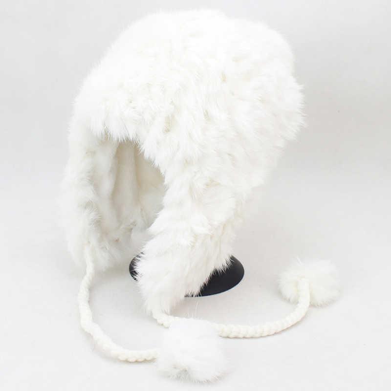 HT2166 sombrero de piel de conejo para mujer grueso cálido gorro de invierno de piel rusa sombrero de lana para mujer forrado gorra de esquí Ushanka Casual sombrero de punto