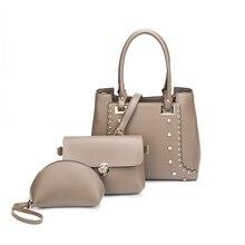 3PCS/Set Women Fashion Composite Handbags Soft PU Leather Female Shoulder Bags Vintage Brand Designer Ladies Messenger Bag Bolsa