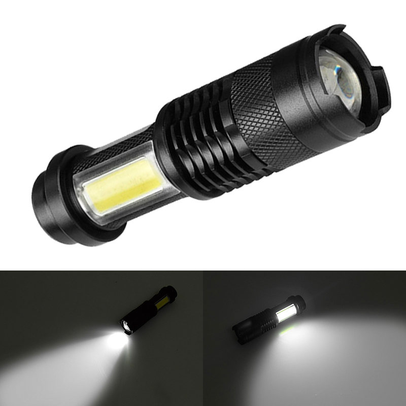 Portable New Mini 4000LM XML-Q5+COB LED Flashlights 4 modes Zoomable Torch Lighting Lantern Lamp Use AA or 14500 Battery