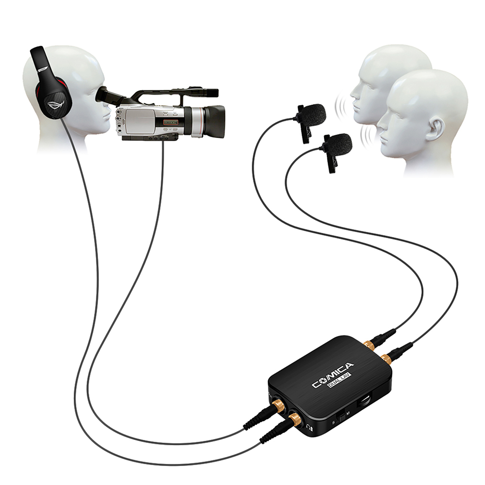 COMICA Dual-head Detachable Lavalier Microphone with Mono/Stereo Modes Built-in Battery Real-time Monitor for Gopro Phone CameraCOMICA Dual-head Detachable Lavalier Microphone with Mono/Stereo Modes Built-in Battery Real-time Monitor for Gopro Phone Camera