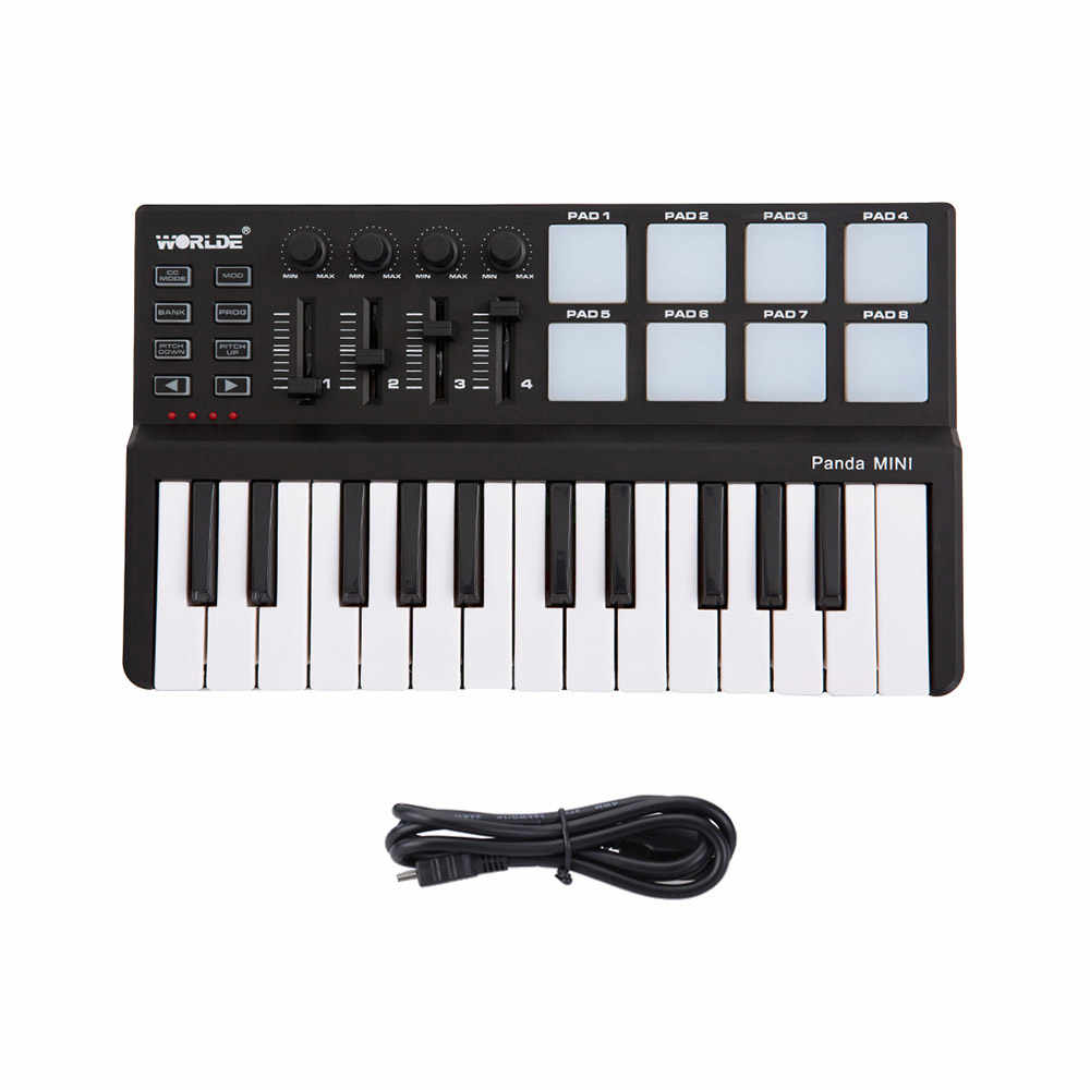 Worlde Panda Keyboard MIDI Portable Mini 25-Kunci USB Keyboard dan Drum Pad MIDI Controller