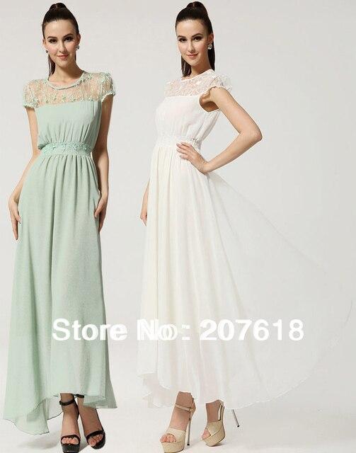 Women Short Sleeve Slim Chiffon Dress Plus Size Lace Evening Beach Party Dress BOHO Maxi Dresses