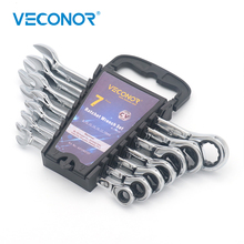 Veconor 7 Pieces Ratchet Handle Wrench Set in Plastic Rack 8~19mm Combination